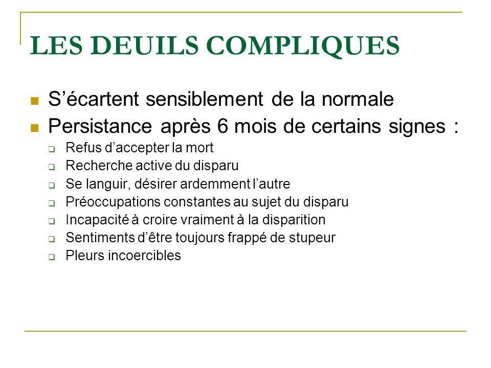 LES DEUILS COMPLIQUES Sécartent sensiblement de la normale Persistance après 6 mois de certains signes : Refus daccepter la mort Recherche active du d