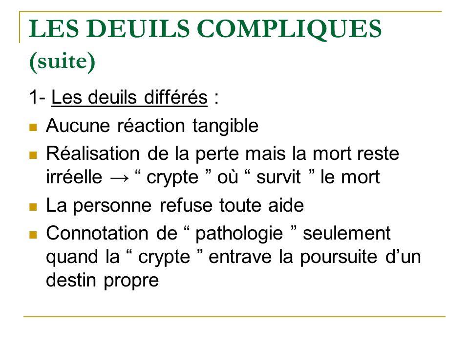 LES DEUILS COMPLIQUES (suite) 1- Les deuils différés : Aucune réaction tangible Réalisation de la perte mais la mort reste irréelle crypte où survit l