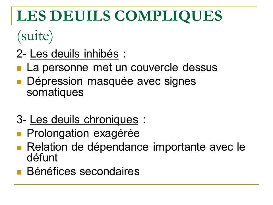 LES DEUILS COMPLIQUES (suite) 2- Les deuils inhibés : La personne met un couvercle dessus Dépression masquée avec signes somatiques 3- Les deuils chro