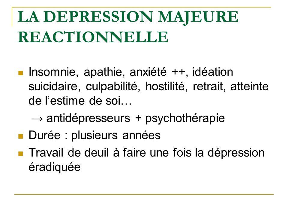 LA DEPRESSION MAJEURE REACTIONNELLE Insomnie, apathie, anxiété ++, idéation suicidaire, culpabilité, hostilité, retrait, atteinte de lestime de soi… a