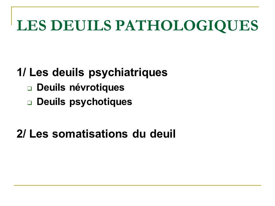 LES DEUILS PATHOLOGIQUES 1/ Les deuils psychiatriques Deuils névrotiques Deuils psychotiques 2/ Les somatisations du deuil