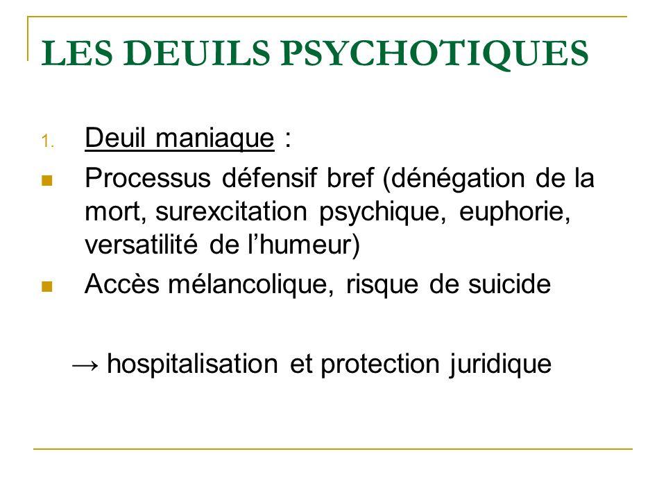 LES DEUILS PSYCHOTIQUES 1. Deuil maniaque : Processus défensif bref (dénégation de la mort, surexcitation psychique, euphorie, versatilité de lhumeur)