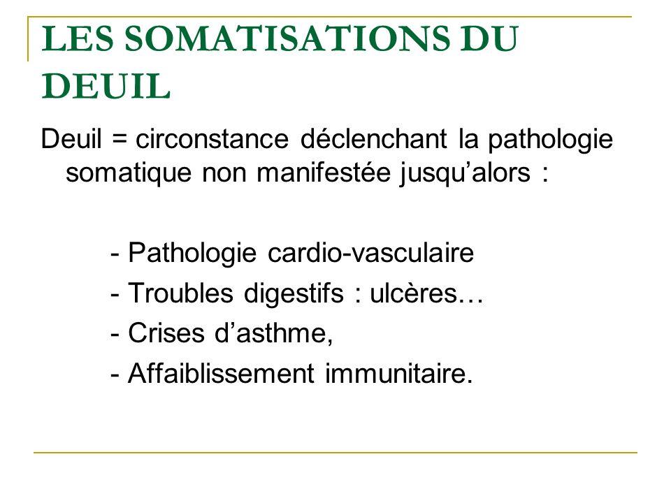 LES SOMATISATIONS DU DEUIL Deuil = circonstance déclenchant la pathologie somatique non manifestée jusqualors : - Pathologie cardio-vasculaire - Troub