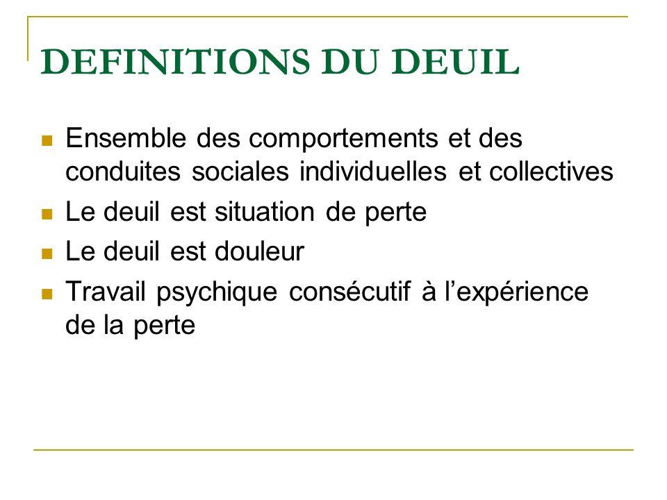 DEFINITIONS DU DEUIL Ensemble des comportements et des conduites sociales individuelles et collectives Le deuil est situation de perte Le deuil est do