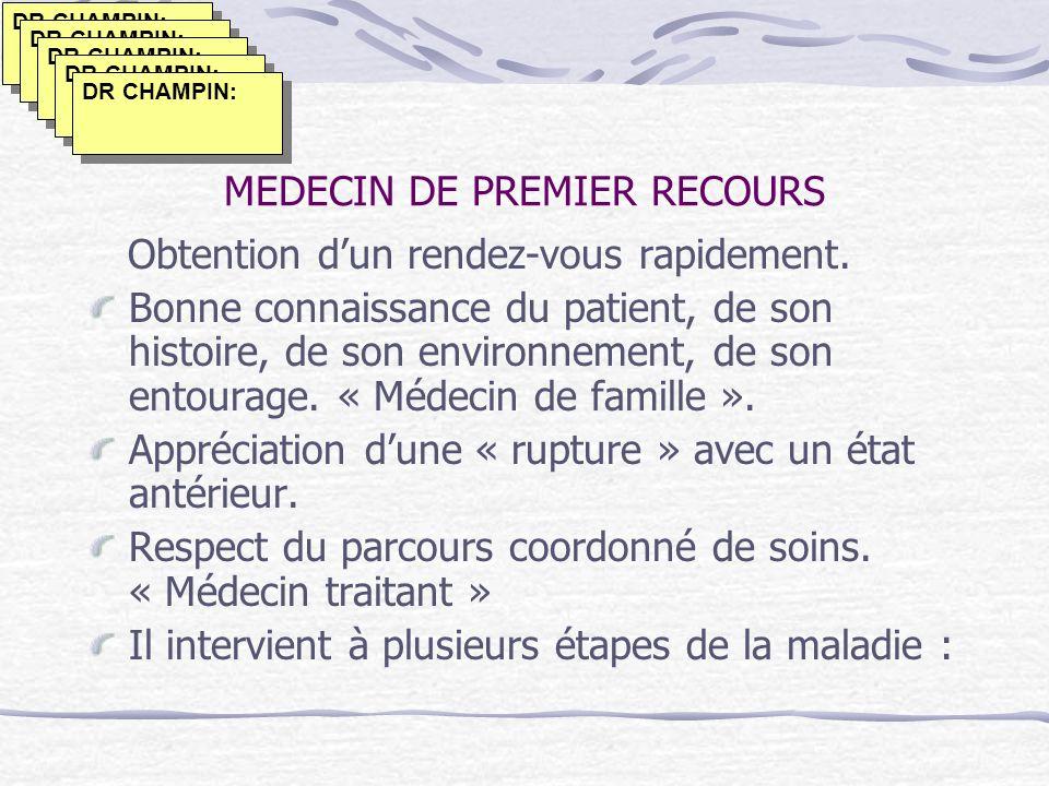 MEDECIN DE PREMIER RECOURS Obtention dun rendez-vous rapidement. Bonne connaissance du patient, de son histoire, de son environnement, de son entourag