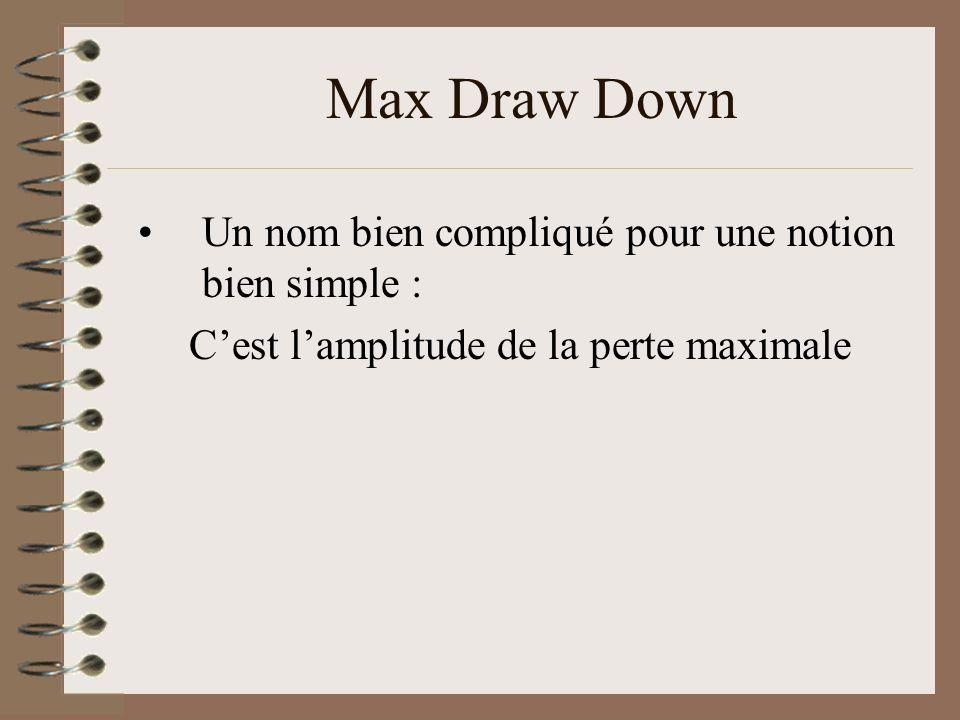 Max Draw Down Un nom bien compliqué pour une notion bien simple : Cest lamplitude de la perte maximale