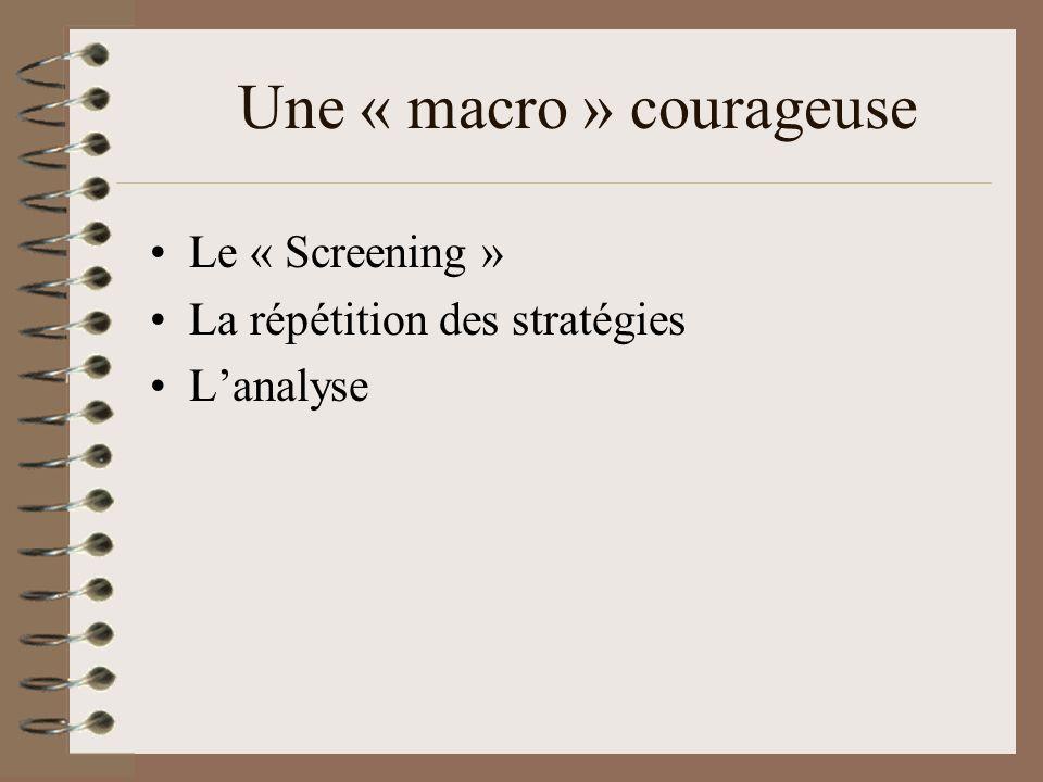 Une « macro » courageuse Le « Screening » La répétition des stratégies Lanalyse