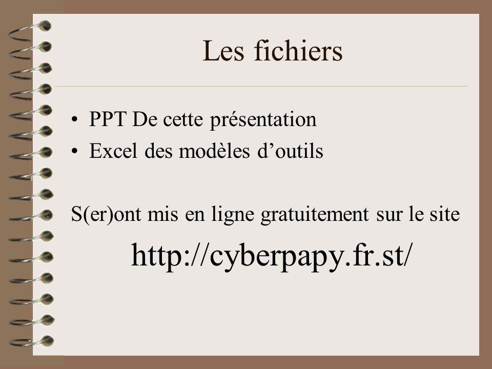 Les fichiers PPT De cette présentation Excel des modèles doutils S(er)ont mis en ligne gratuitement sur le site http://cyberpapy.fr.st/