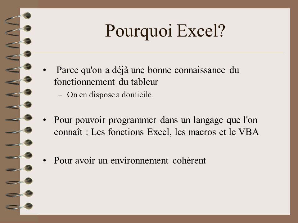 Pourquoi Excel? Parce qu'on a déjà une bonne connaissance du fonctionnement du tableur –On en dispose à domicile. Pour pouvoir programmer dans un lang