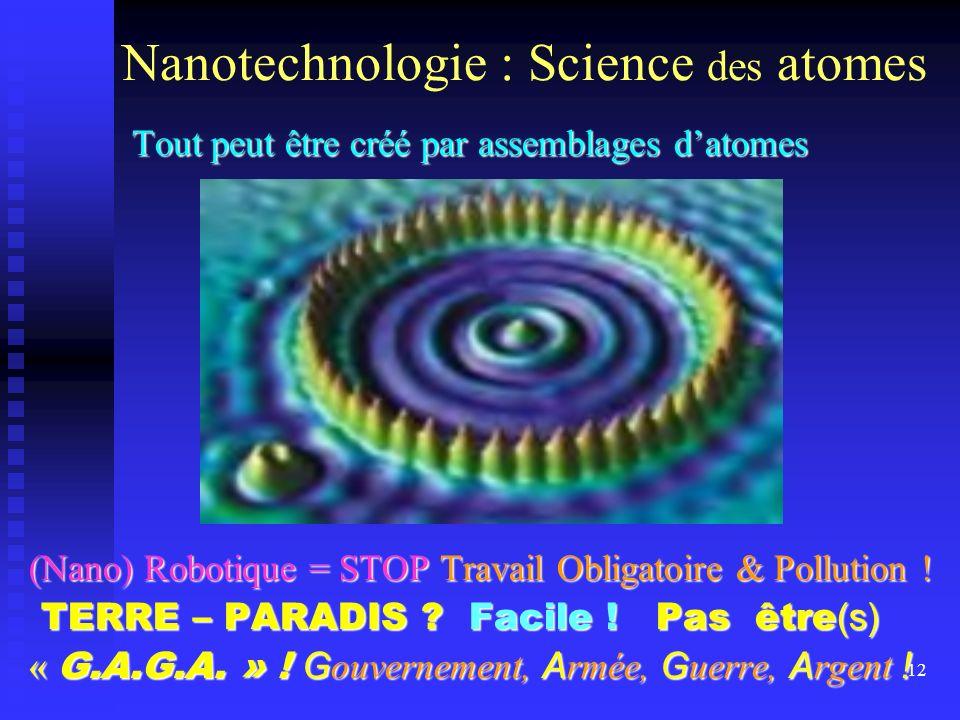 12 Nanotechnologie : Science des atomes Tout peut être créé par assemblages datomes Tout peut être créé par assemblages datomes (Nano) Robotique = STO