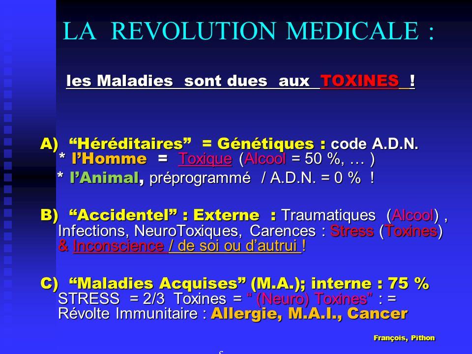 LA REVOLUTION MEDICALE : les Maladies sont dues aux TOXINES ! les Maladies sont dues aux TOXINES ! A) HéréditairesGénétiques : code A.D.N. * lHomme =