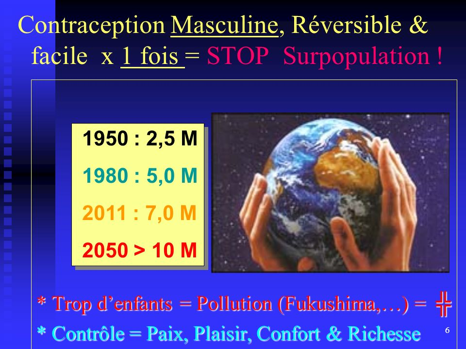 6 Contraception Masculine, Réversible & facile x 1 fois = STOP Surpopulation ! * Trop denfants = Pollution (Fukushima,…) = * Trop denfants = Pollution