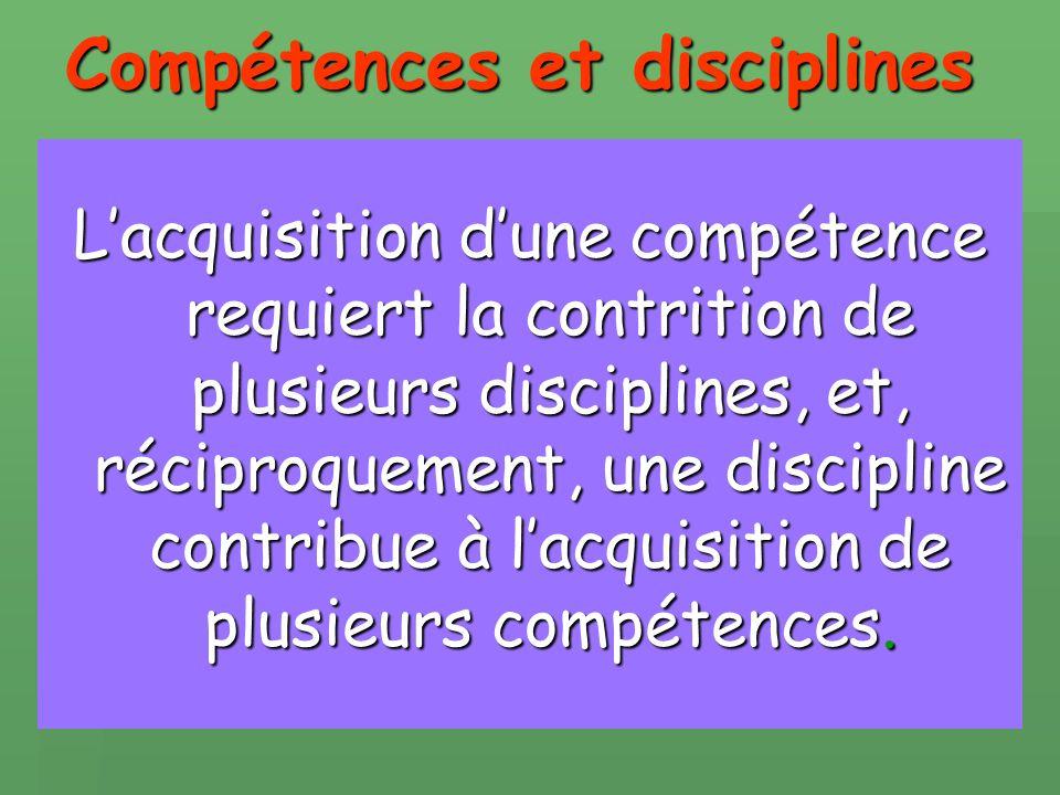 Compétences et disciplines Lacquisition dune compétence requiert la contrition de plusieurs disciplines, et, réciproquement, une discipline contribue à lacquisition de plusieurs compétences.