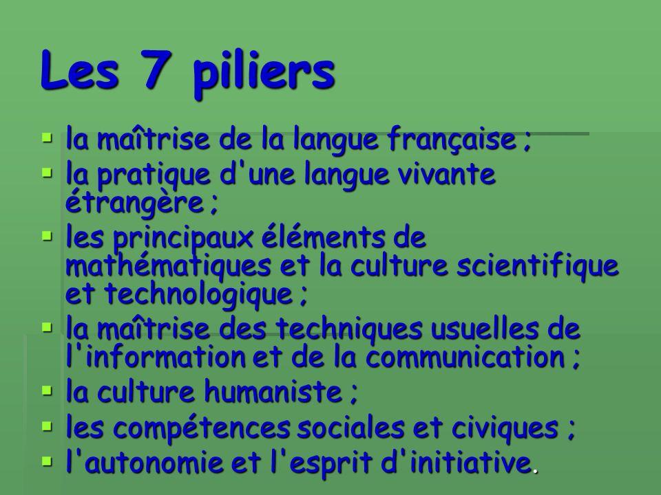 Les 7 piliers la maîtrise de la langue française ; la pratique d une langue vivante étrangère ; les principaux éléments de mathématiques et la culture scientifique et technologique ; la maîtrise des techniques usuelles de l information et de la communication ; la culture humaniste ; les compétences sociales et civiques ; l autonomie et l esprit d initiative.