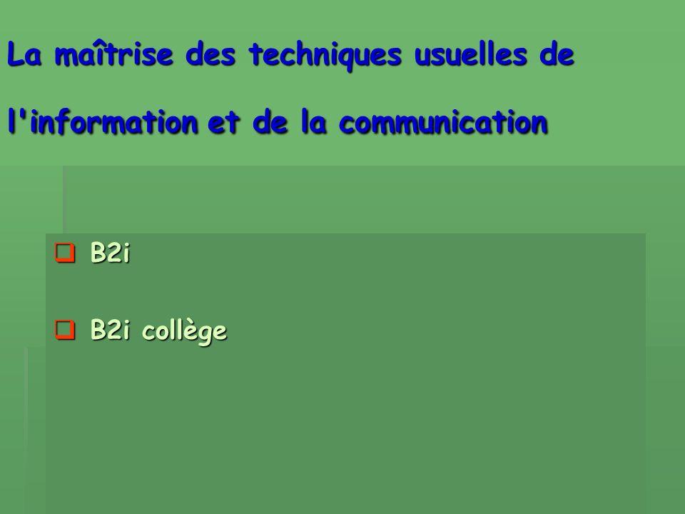 La maîtrise des techniques usuelles de l information et de la communication B2i B2i B2i collège B2i collège