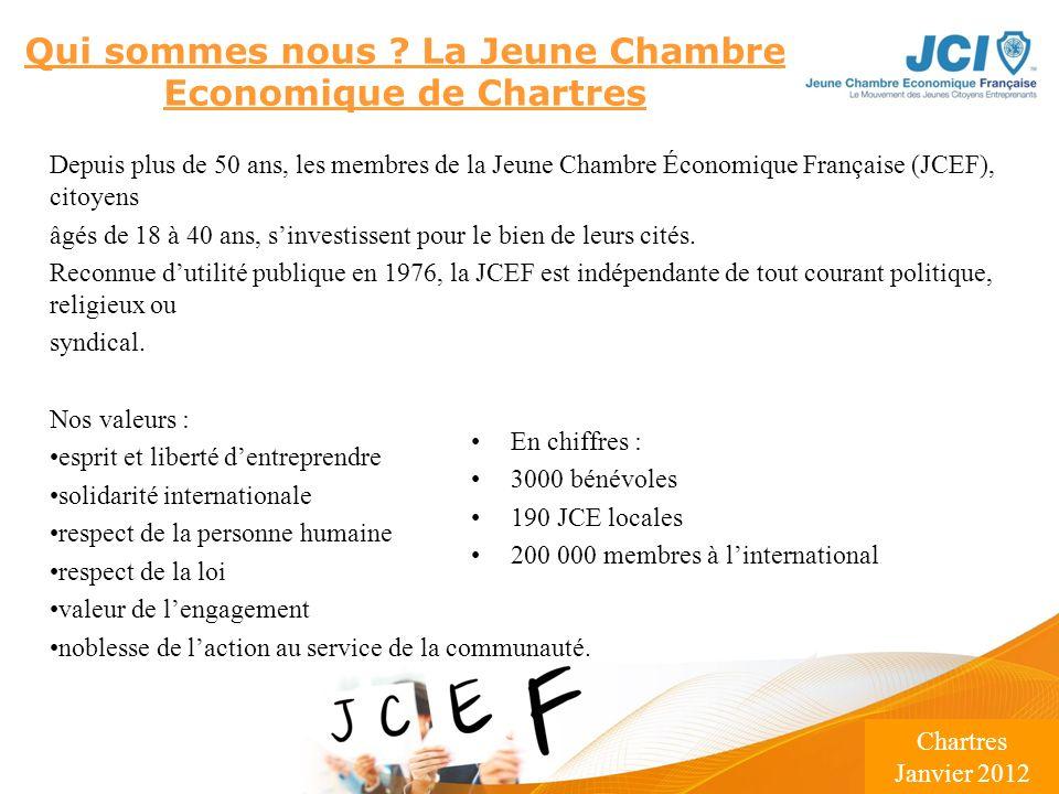 Conférence des Présidents Montargis 2009 Lieu – Date Qui sommes nous ? La Jeune Chambre Economique de Chartres Depuis plus de 50 ans, les membres de l