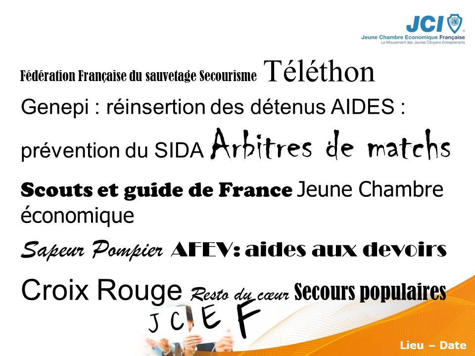 Conférence des Présidents Montargis 2009 Lieu – Date Fédération Française du sauvetage Secourisme Téléthon Genepi : réinsertion des détenus AIDES : pr
