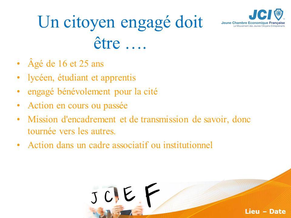 Conférence des Présidents Montargis 2009 Lieu – Date Un citoyen engagé doit être …. Âgé de 16 et 25 ans lycéen, étudiant et apprentis engagé bénévolem