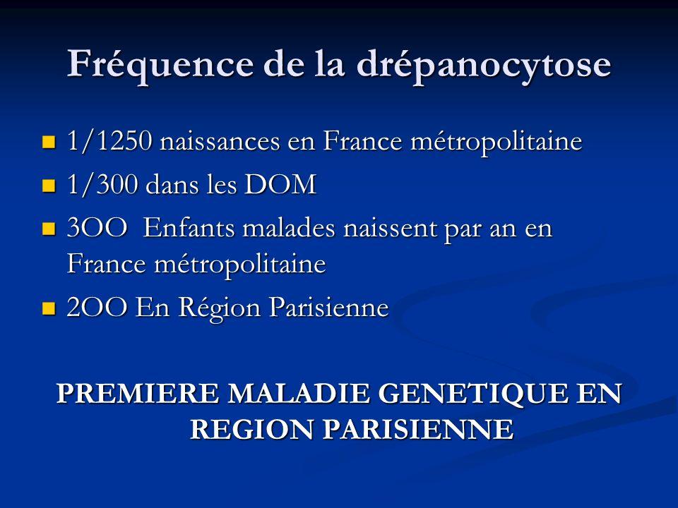 Fréquence de la drépanocytose 1/1250 naissances en France métropolitaine 1/1250 naissances en France métropolitaine 1/300 dans les DOM 1/300 dans les