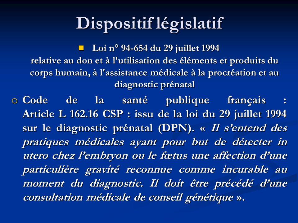 Dispositif législatif Loi n° 94-654 du 29 juillet 1994 relative au don et à l'utilisation des éléments et produits du corps humain, à l'assistance méd