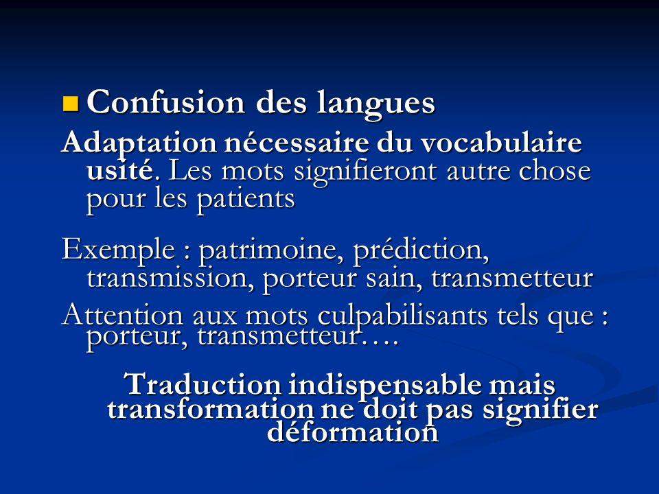 Confusion des langues Confusion des langues Adaptation nécessaire du vocabulaire usité. Les mots signifieront autre chose pour les patients Exemple :