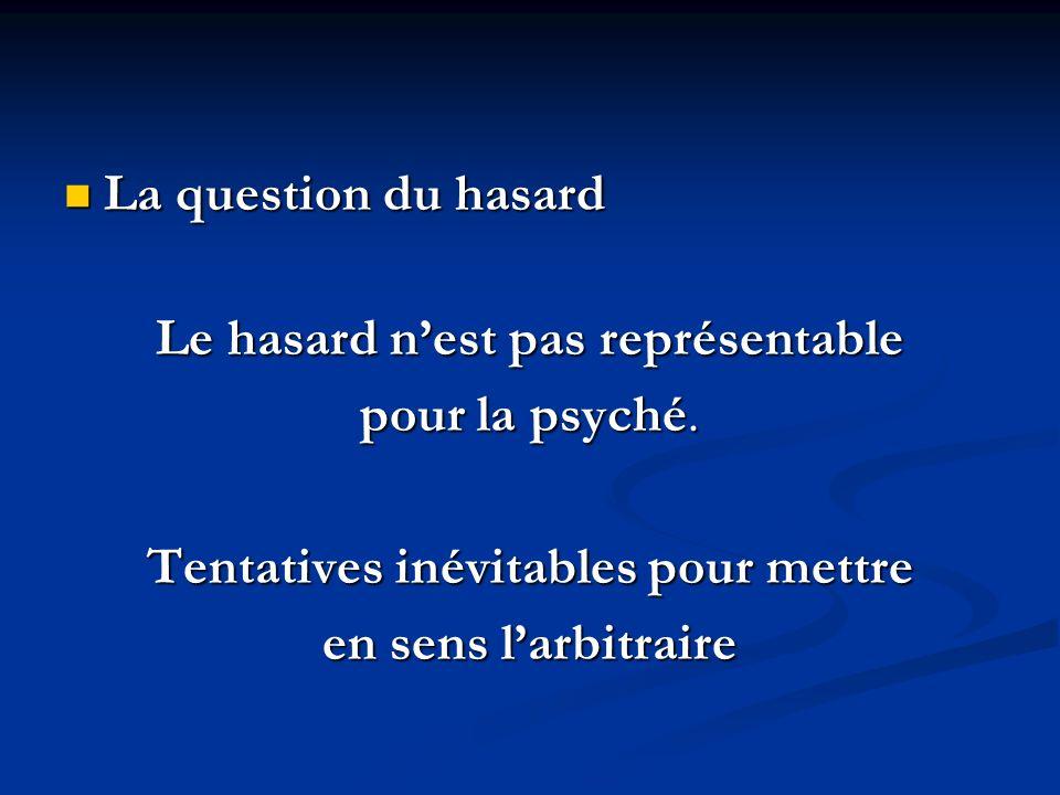 La question du hasard La question du hasard Le hasard nest pas représentable pour la psyché. Tentatives inévitables pour mettre en sens larbitraire