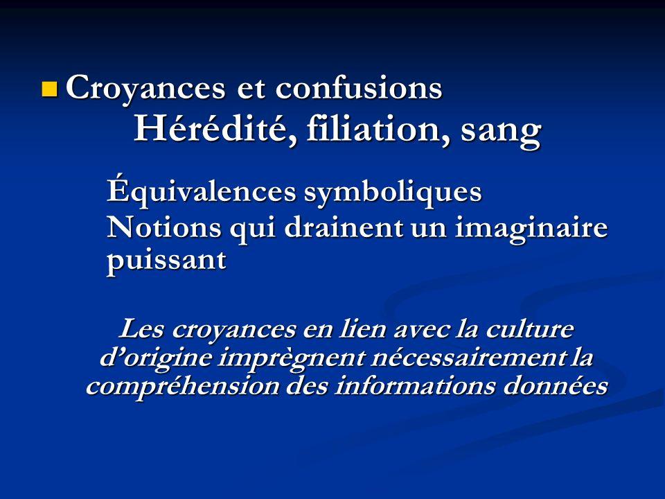 Croyances et confusions Croyances et confusions Hérédité, filiation, sang Équivalences symboliques Notions qui drainent un imaginaire puissant Les cro