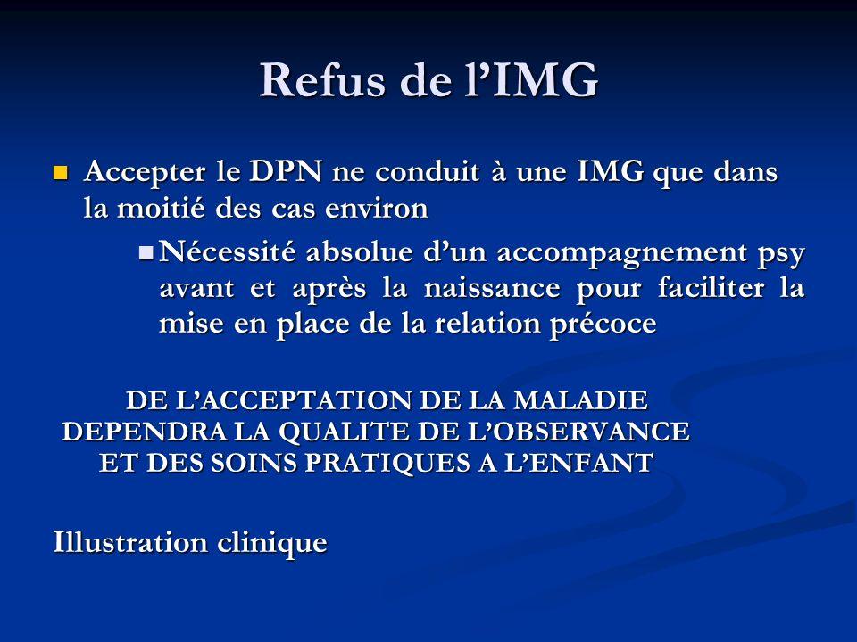 Refus de lIMG Accepter le DPN ne conduit à une IMG que dans la moitié des cas environ Accepter le DPN ne conduit à une IMG que dans la moitié des cas