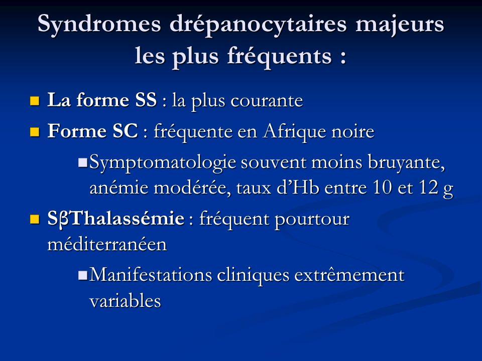 Syndromes drépanocytaires majeurs les plus fréquents : La forme SS : la plus courante La forme SS : la plus courante Forme SC : fréquente en Afrique n
