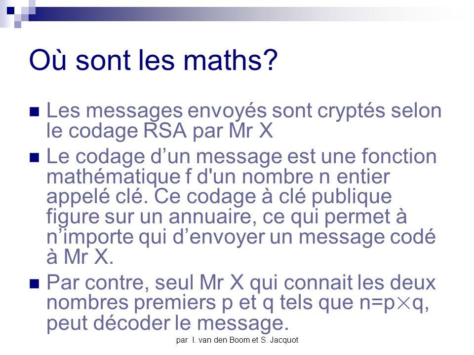 par I. van den Boom et S. Jacquot Où sont les maths.