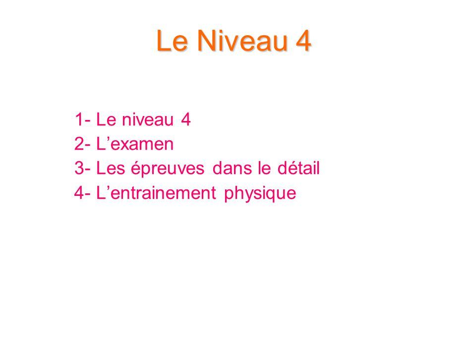 Le Niveau 4 1- Le niveau 4 2- Lexamen 3- Les épreuves dans le détail 4- Lentrainement physique