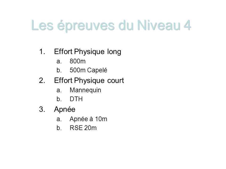 Les épreuves du Niveau 4 1.Effort Physique long a.800m b.500m Capelé 2.Effort Physique court a.Mannequin b.DTH 3.Apnée a.Apnée à 10m b.RSE 20m