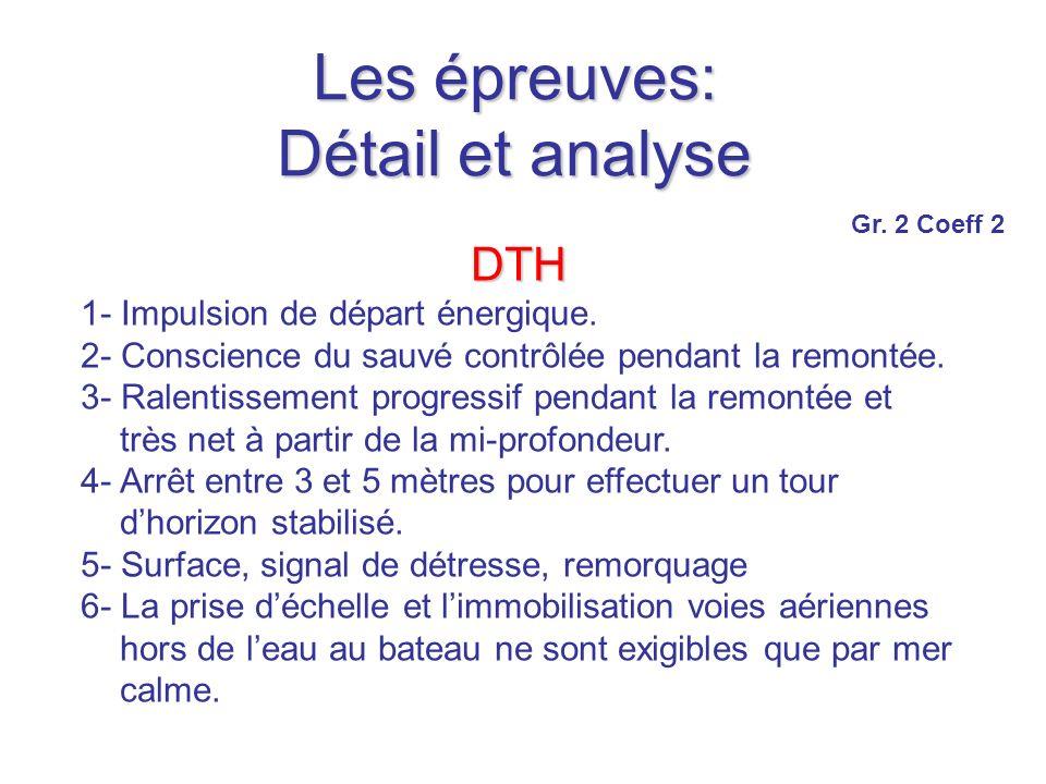 Les épreuves: Détail et analyse DTH 1- Impulsion de départ énergique.