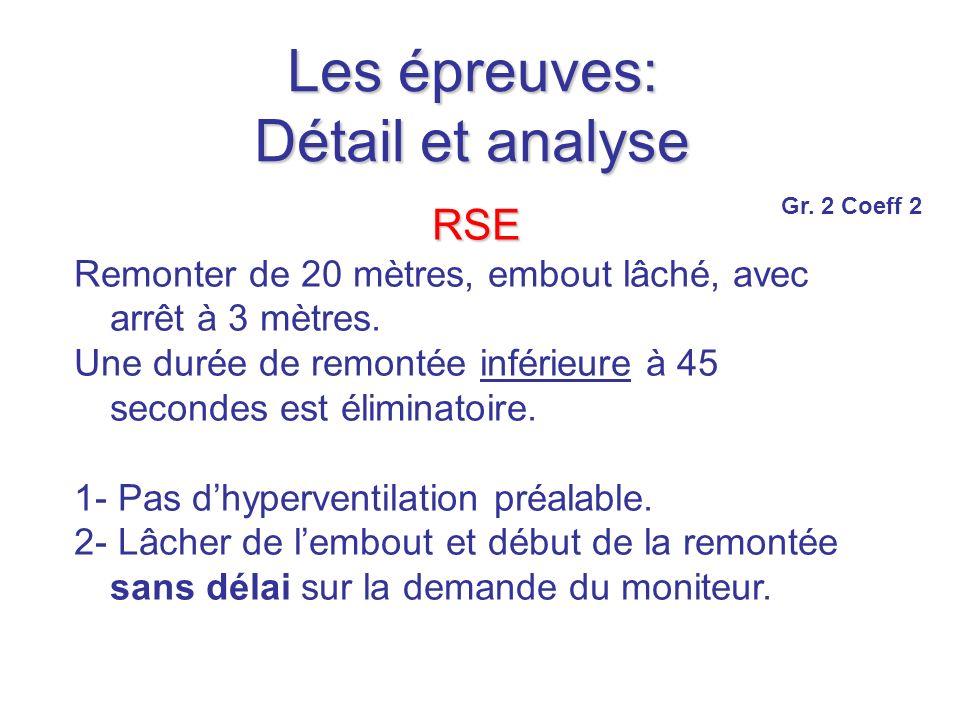 Les épreuves: Détail et analyse RSE Remonter de 20 mètres, embout lâché, avec arrêt à 3 mètres.