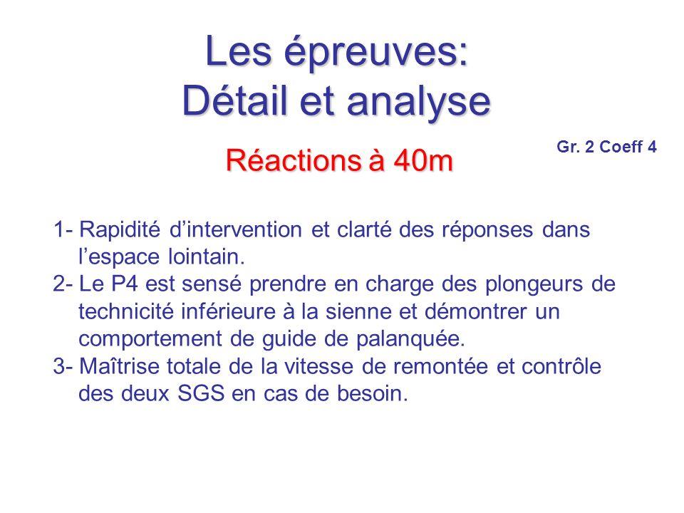 Les épreuves: Détail et analyse Réactions à 40m 1- Rapidité dintervention et clarté des réponses dans lespace lointain.