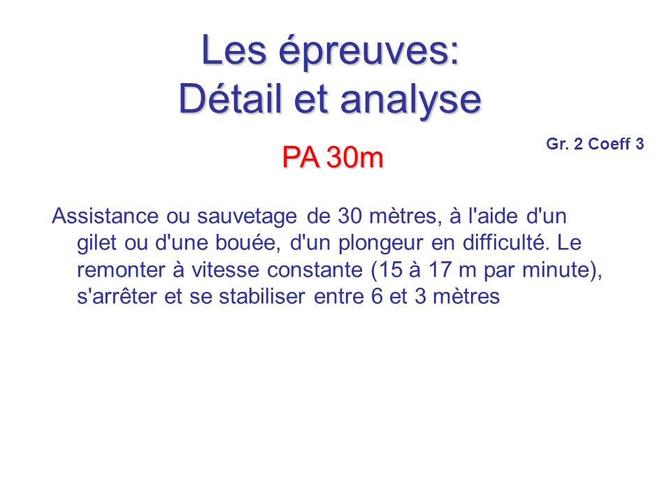Les épreuves: Détail et analyse PA 30m Assistance ou sauvetage de 30 mètres, à l aide d un gilet ou d une bouée, d un plongeur en difficulté.