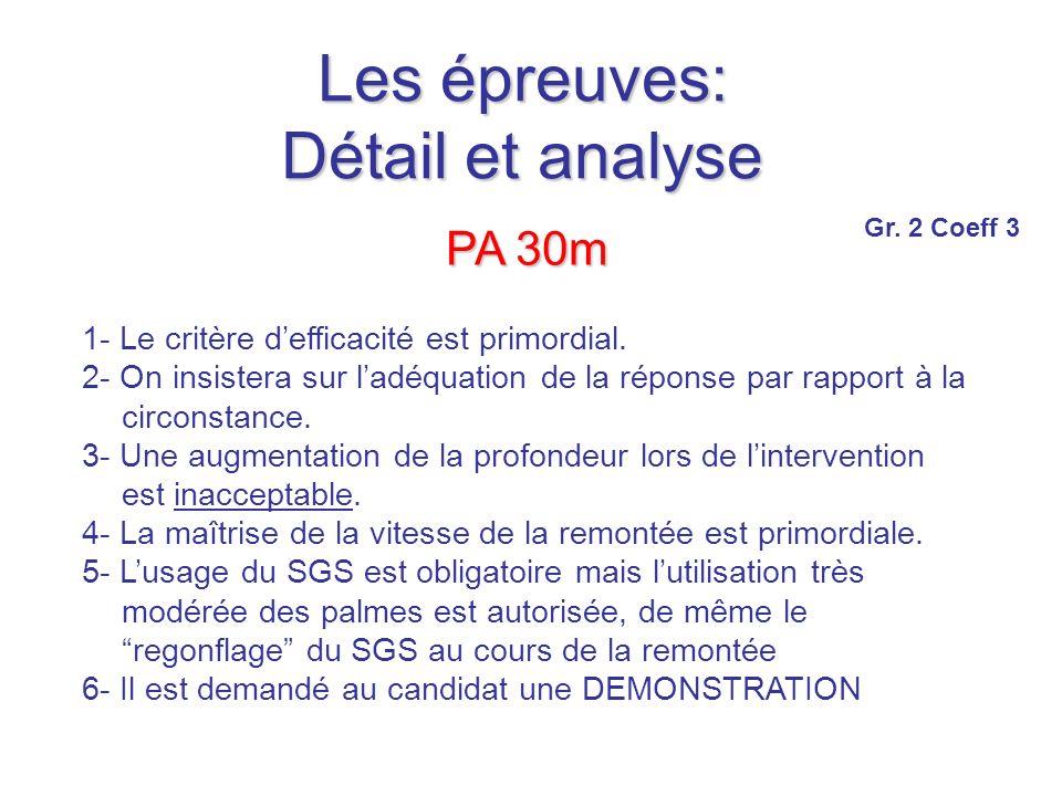 Les épreuves: Détail et analyse PA 30m 1- Le critère defficacité est primordial.