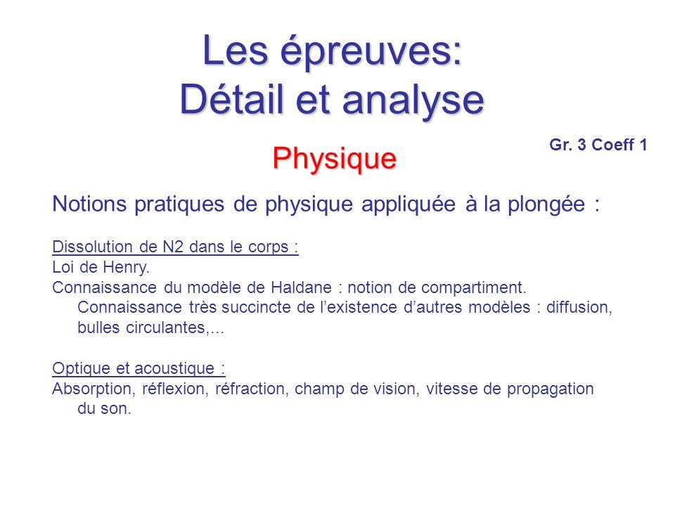 Les épreuves: Détail et analyse Physique Notions pratiques de physique appliquée à la plongée : Dissolution de N2 dans le corps : Loi de Henry.