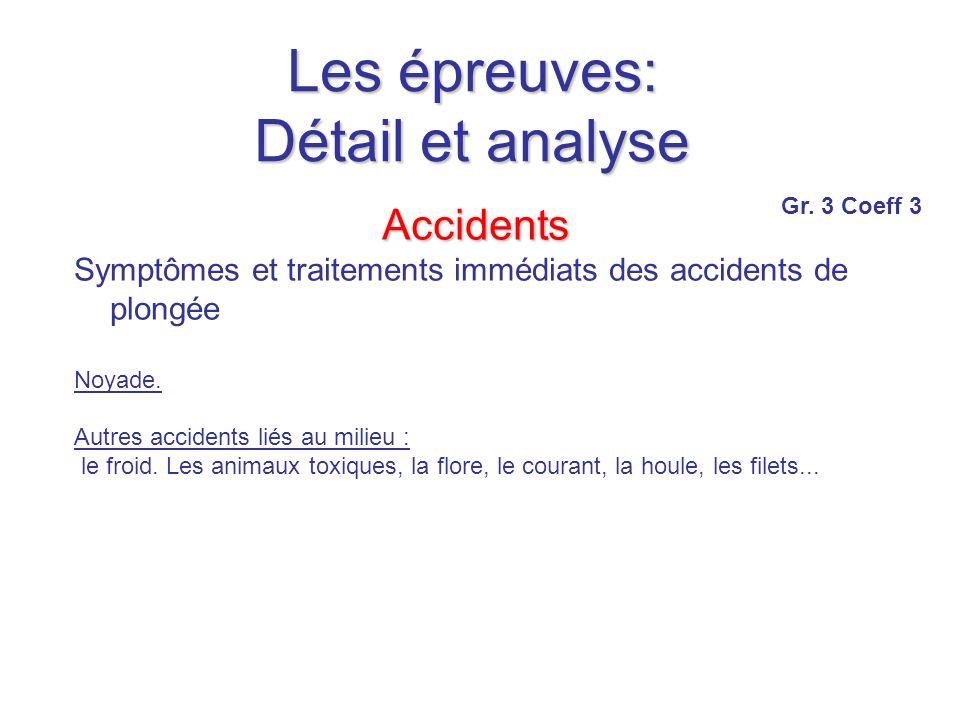 Les épreuves: Détail et analyse Accidents Symptômes et traitements immédiats des accidents de plongée Noyade.