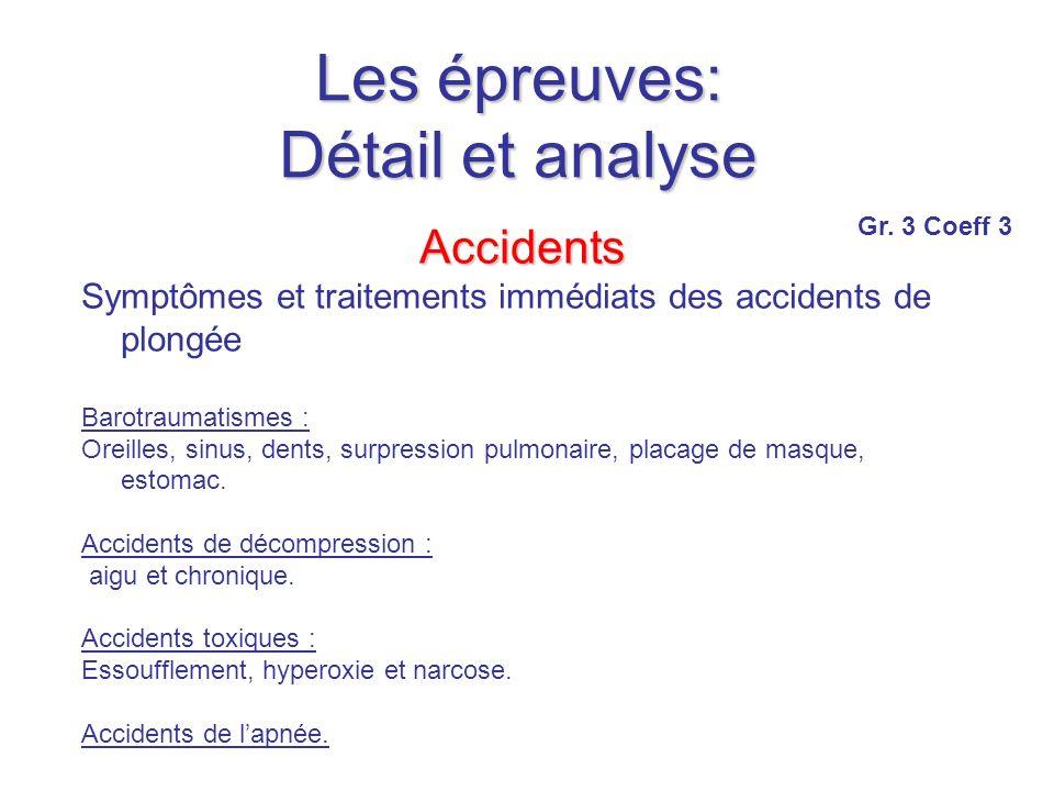 Les épreuves: Détail et analyse Accidents Symptômes et traitements immédiats des accidents de plongée Barotraumatismes : Oreilles, sinus, dents, surpression pulmonaire, placage de masque, estomac.