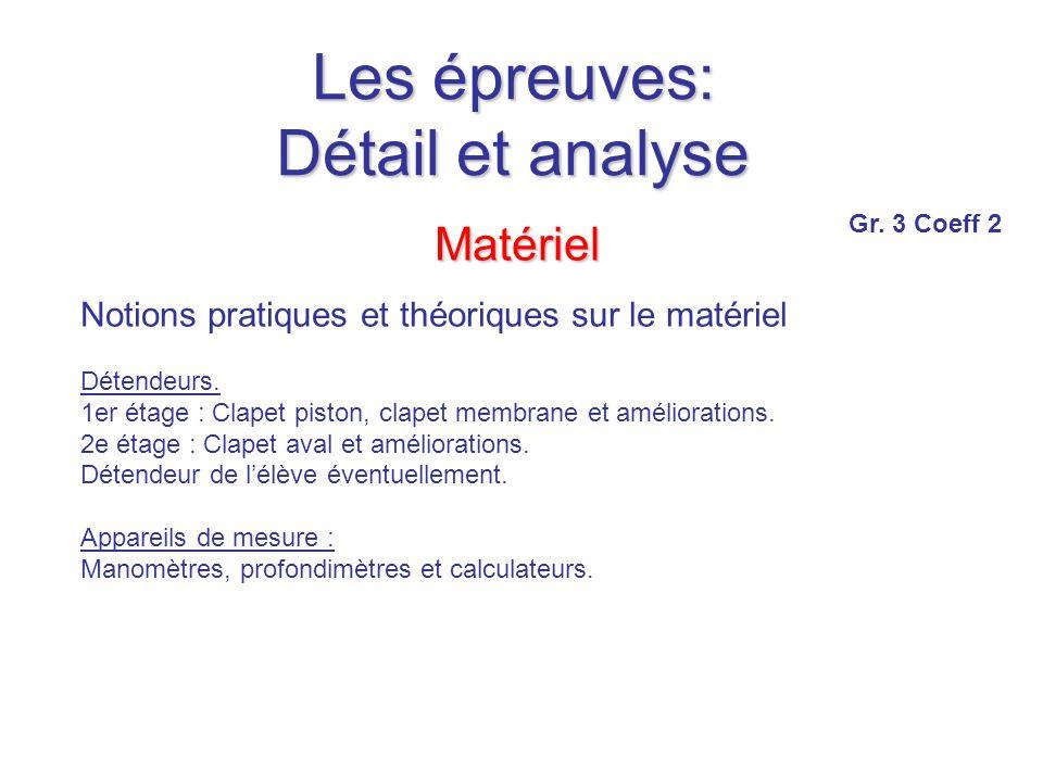 Les épreuves: Détail et analyse Matériel Notions pratiques et théoriques sur le matériel Détendeurs.