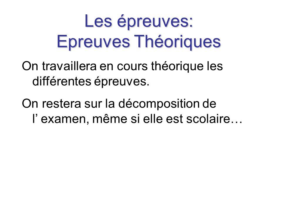 Les épreuves: Epreuves Théoriques On travaillera en cours théorique les différentes épreuves.