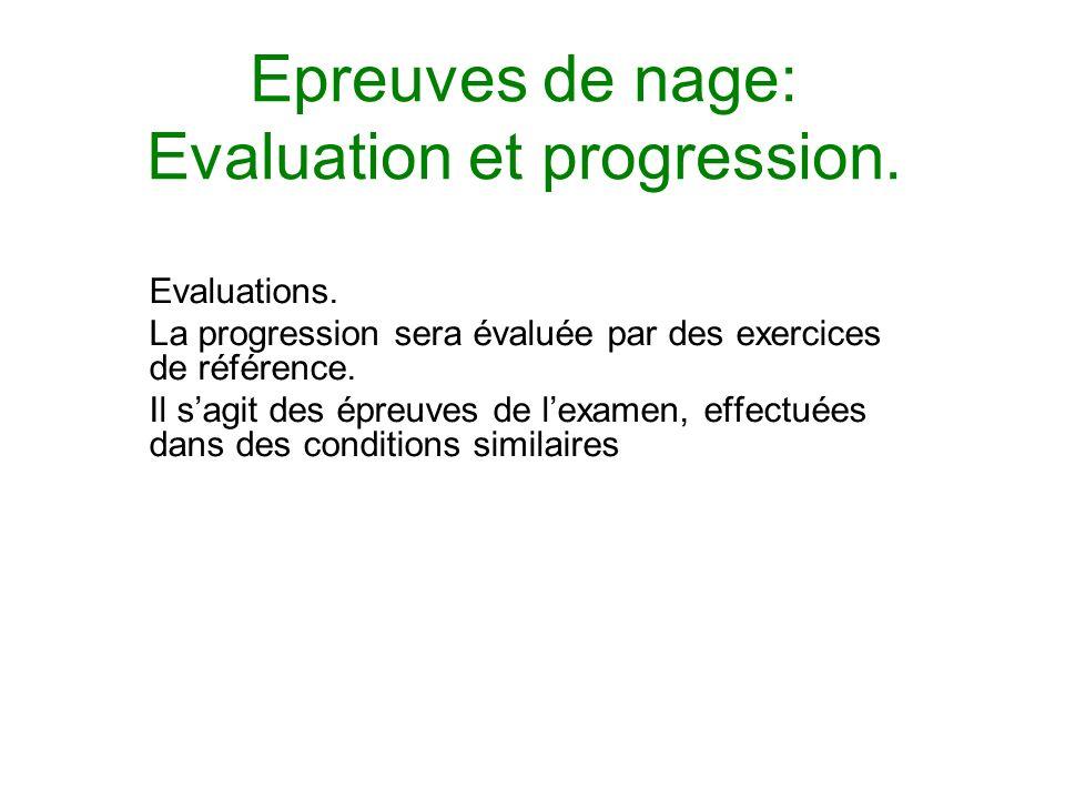 Epreuves de nage: Evaluation et progression.Evaluations.