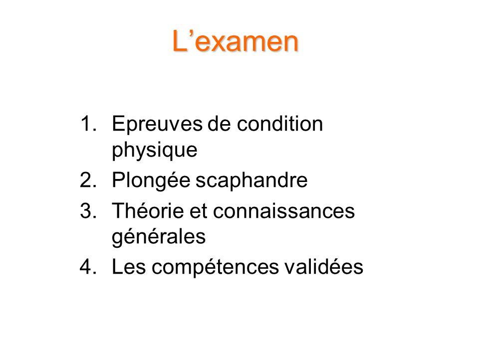 Lexamen 1.Epreuves de condition physique 2.Plongée scaphandre 3.Théorie et connaissances générales 4.Les compétences validées