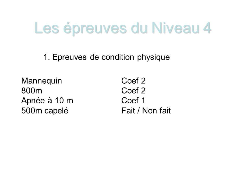 Les épreuves du Niveau 4 1.