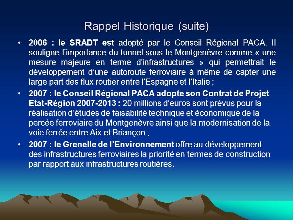 Rappel Historique (suite) 2006 : le SRADT est adopté par le Conseil Régional PACA. Il souligne limportance du tunnel sous le Montgenèvre comme « une m