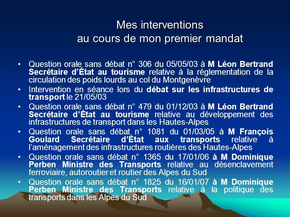 Mes interventions au cours de mon premier mandat Question orale sans débat n° 306 du 05/05/03 à M Léon Bertrand Secrétaire dÉtat au tourisme relative
