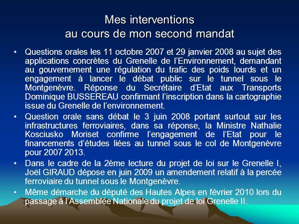 Mes interventions au cours de mon second mandat Questions orales les 11 octobre 2007 et 29 janvier 2008 au sujet des applications concrètes du Grenelle de lEnvironnement, demandant au gouvernement une régulation du trafic des poids lourds et un engagement à lancer le débat public sur le tunnel sous le Montgenèvre.