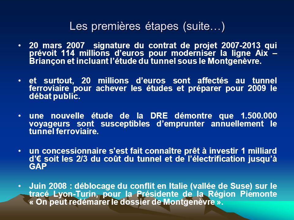 Les premières étapes (suite…) 20 mars 2007 signature du contrat de projet 2007-2013 qui prévoit 114 millions deuros pour moderniser la ligne Aix – Briançon et incluant létude du tunnel sous le Montgenèvre.