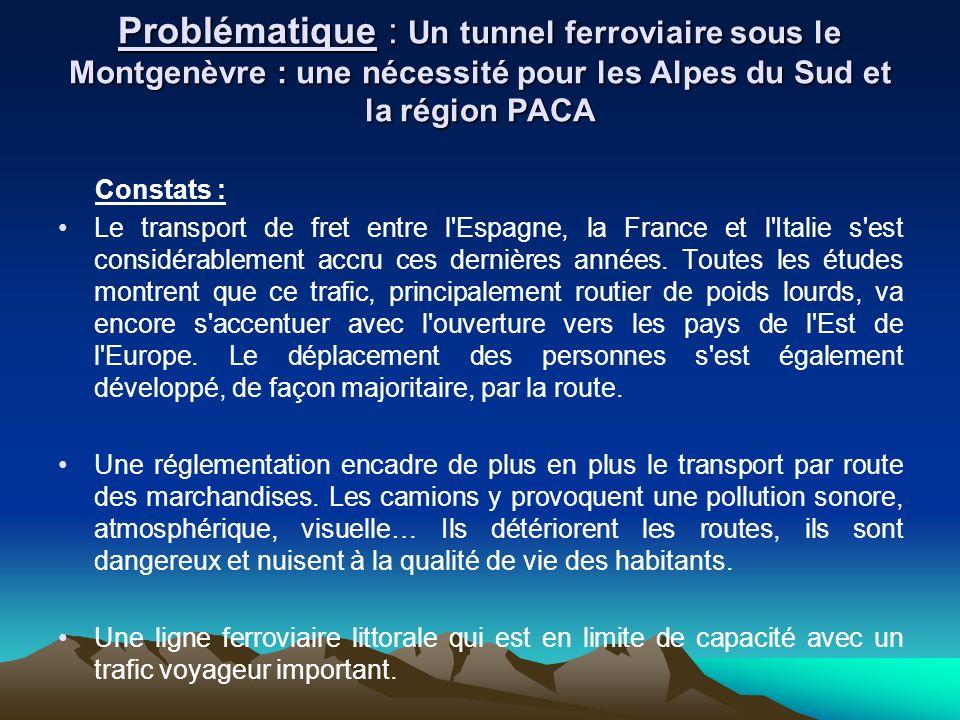 Problématique : Un tunnel ferroviaire sous le Montgenèvre : une nécessité pour les Alpes du Sud et la région PACA Constats : Le transport de fret entr